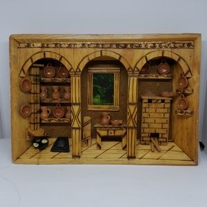 VTG HAND CARVED WOOD KITCHEN SHADOW BOX